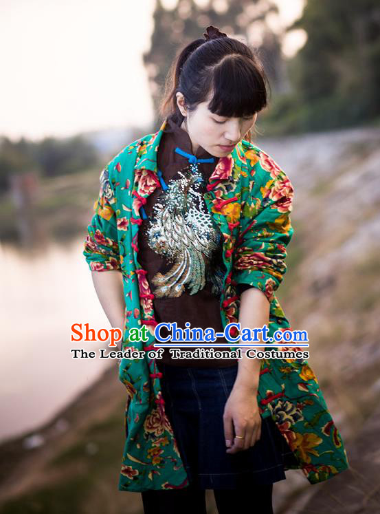 Traditional Chinese National Costume Front Opening Linen Coat, Elegant Hanfu Embroidered Tang Suit Green Coat for Women