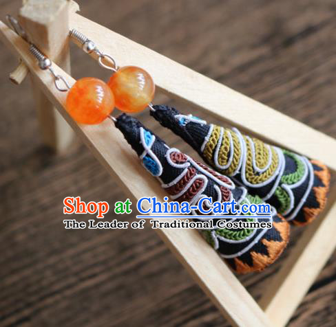 Traditional Handmade Chinese National Miao Nationality Embroidery Earrings for Women