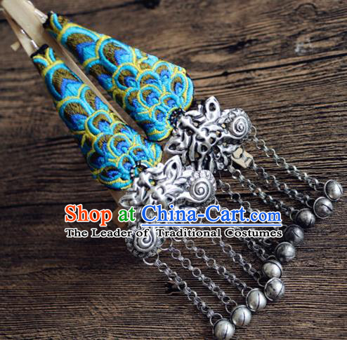 Traditional Handmade Chinese National Miao Nationality Sliver Eardrop Embroidery Peacock Earrings for Women
