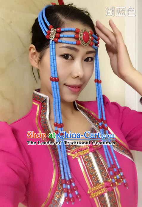 Traditional Handmade Chinese  Mongol Nationality Dance Hair Accessories Headwear, China Mongols Mongolian Minority Nationality Blue Beads Tassel Headpiece for Women