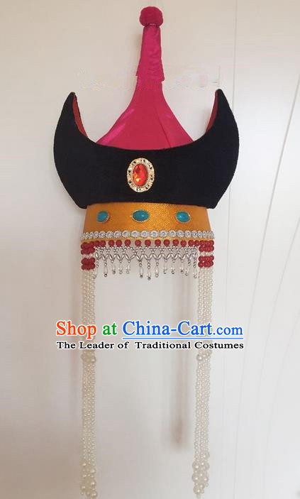 Traditional Handmade Chinese  Mongol Nationality Dance Hair Accessories Headwear, China Mongols Mongolian Minority Nationality Princess Tassel Hat Headpiece for Women