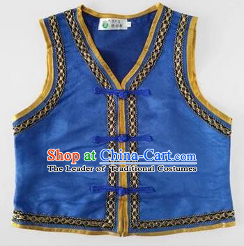 Traditional Chinese Mongol Nationality Dance Costume, Mongols Children Folk Dance Ethnic Vest, Chinese Mongolian Minority Nationality Embroidery Blue Waistcoat for Kids