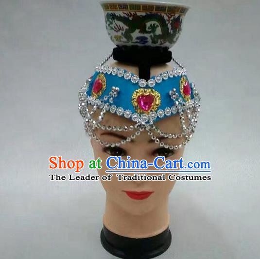 Traditional Handmade Chinese Mongol Nationality Dance Blue Hair Accessories Headwear, China Mongols Mongolian Minority Nationality Bride Headpiece for Women