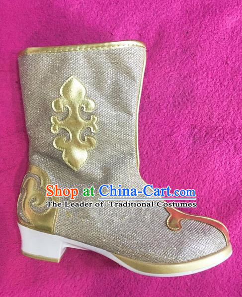 Traditional Chinese Minority Mongol Nationality Ethnic Minorities Mongolian Light Golden Boots Mongolian Jockey Boots Tanks Boots for Kids