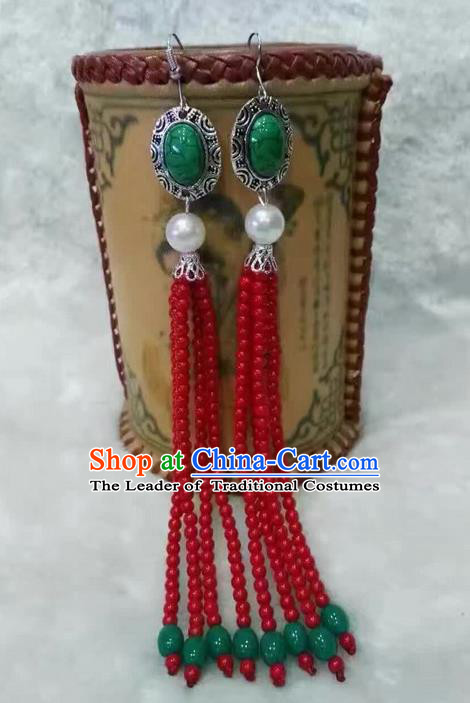 Traditional Handmade Chinese  Mongol Nationality Dance Accessories Red Earrings, China Mongols Mongolian Minority Nationality Princess Long Beads Tassel Eardrop for Women