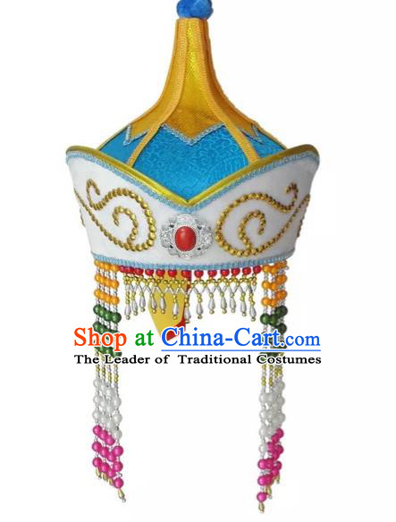 Traditional Handmade Chinese Mongol Nationality Dance Princess Hair Accessories Blue Hat, China Mongols Mongolian Minority Nationality Bride Headpiece for Women