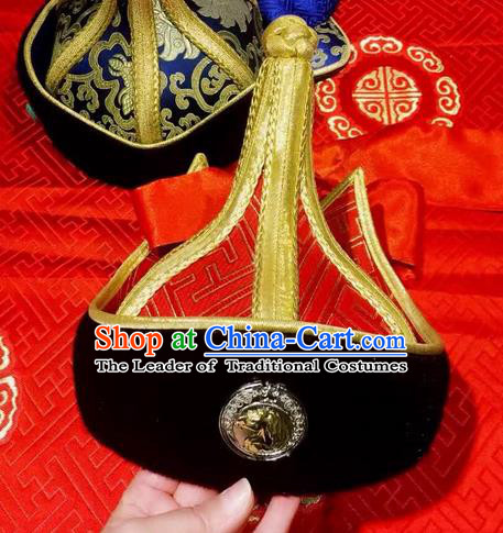 Traditional Handmade Chinese Mongol Nationality Dance Hair Accessories Royal Highness Red Hat, China Mongols Mongolian Minority Nationality Bridegroom Headpiece for Men