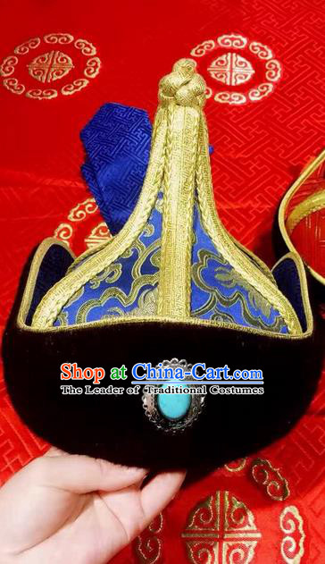 Traditional Handmade Chinese Mongol Nationality Dance Hair Accessories Royal Highness Blue Hat, China Mongols Mongolian Minority Nationality Bridegroom Headpiece for Men