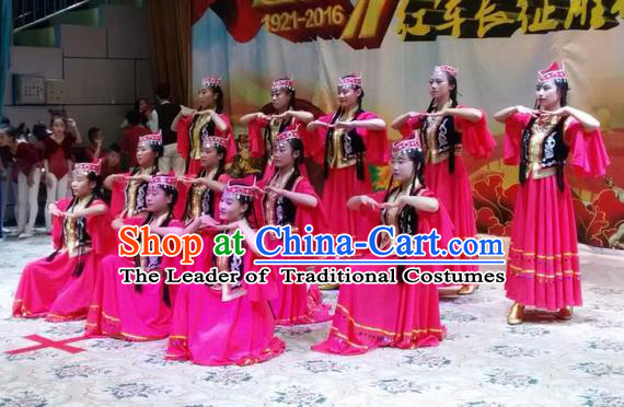 Traditional Chinese Uyghur Nationality Dance Dress, Folk Dance Ethnic Costume, Chinese Minority Nationality Uigurian Dance Costume for Women