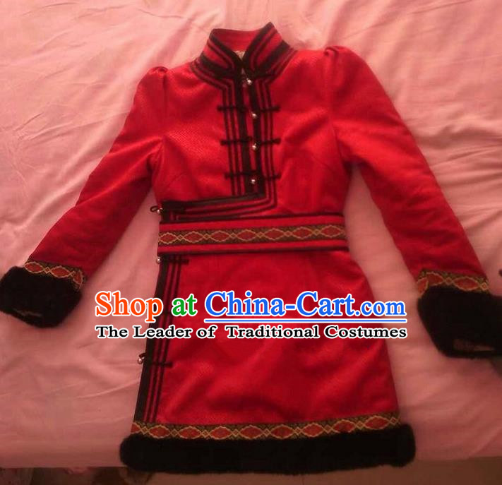 Traditional Chinese Mongol Nationality Dance Costume, Mongols Folk Dance Ethnic Robes, Chinese Mongolian Minority Nationality Embroidery Deerskin Clothing for Men