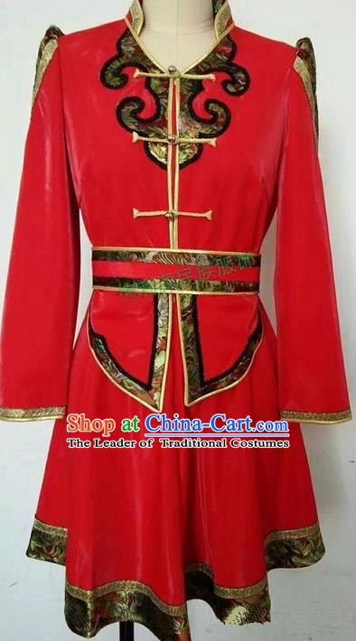 Traditional Chinese Mongol Nationality Dance Costume Red Mongol Robes, Chinese Children Mongolian Minority Nationality Embroidery Dress Clothing for Women