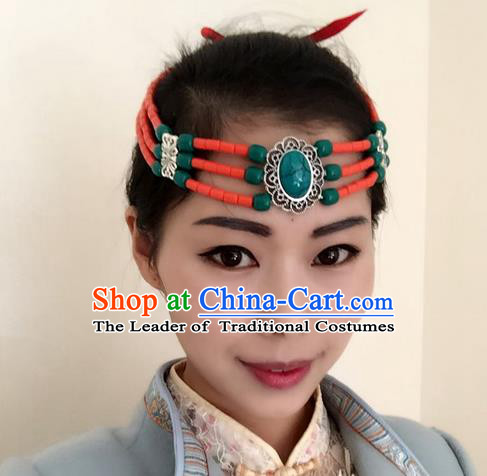 Traditional Handmade Chinese Mongol Nationality Dance Hair Accessories Headwear, China Mongols Mongolian Minority Nationality Green Beads Headpiece for Women
