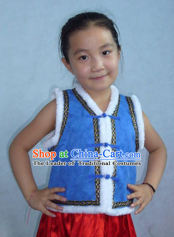 Traditional Chinese Mongol Nationality Dance Costume Children Blue Mongol Vest, China Mongolian Minority Nationality Waistcoat Clothing for Kids