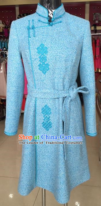 Traditional Chinese Mongol Nationality Dance Costume Wool Mongol Robe, China Mongolian Minority Nationality Blue Dress Clothing for Women