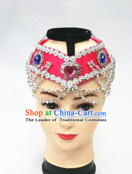 Traditional Handmade Chinese Mongol Nationality Dance Pink Hair Accessories Headwear, China Mongols Mongolian Minority Nationality Bride Headpiece for Women