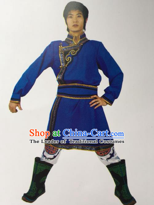 Traditional Chinese Mongol Nationality Dance Costume Handmade Royalblue Mongolian Robe, China Mongolian Minority Nationality Clothing for Men