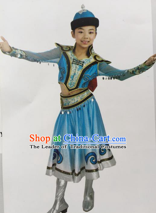 Traditional Chinese Mongol Nationality Dance Costume Handmade Children Blue Mongolian Robe, China Mongolian Minority Nationality Dress Clothing for Kids