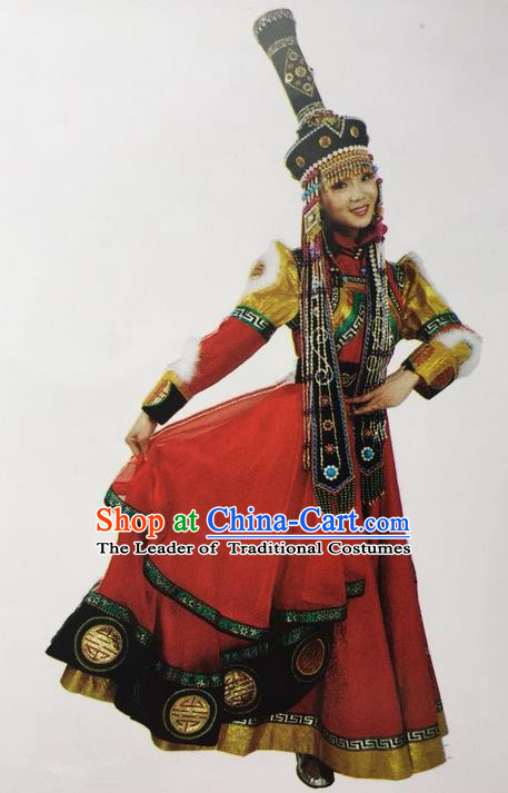 Traditional Chinese Mongol Nationality Dance Costume Handmade Bride Mongolian Robe, China Mongolian Minority Nationality Princess Dress Clothing for Women