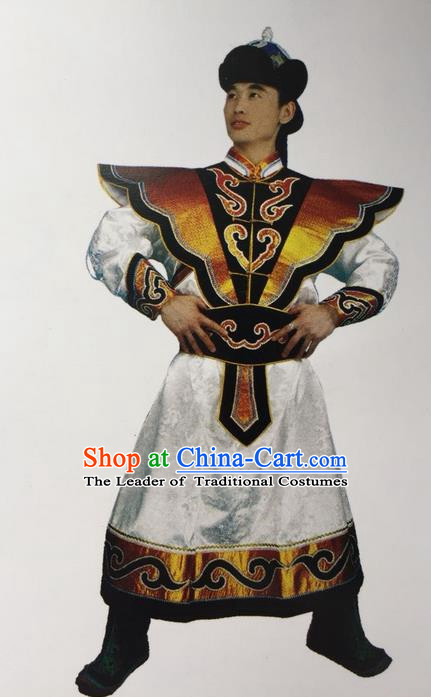 Traditional Chinese Mongol Nationality Dance Costume Handmade Bridegroom Mongolian Robe, China Mongolian Minority Nationality Prince Clothing for Men