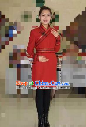 Traditional Chinese Mongol Nationality Dance Costume Handmade Red Wool Mongolian Robe, China Mongolian Minority Nationality Dress Clothing for Women