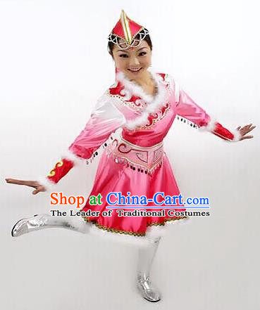Traditional Chinese Mongol Nationality Dance Costume Pink Mongolian Robe, China Mongolian Minority Nationality Princess Dress Clothing for Women