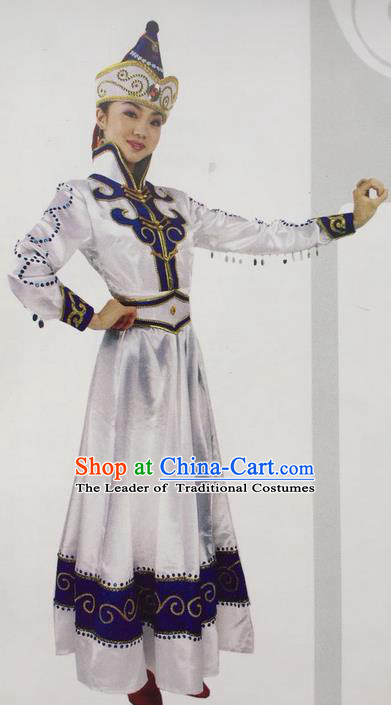 Traditional Chinese Mongol Nationality Dance Costume White Mongolian Robe, China Mongolian Minority Nationality Princess Dress Clothing for Women