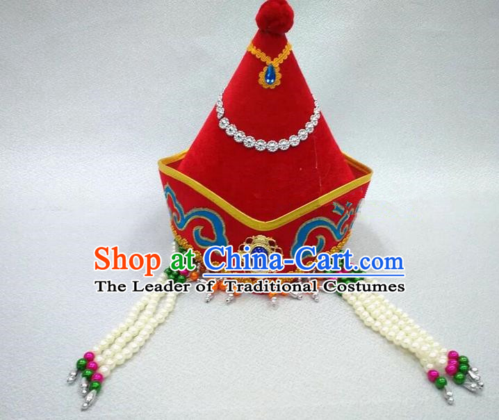 Traditional Handmade Chinese Mongol Nationality Dance Red Headwear Princess Hat, China Mongols Children Mongolian Minority Nationality Headpiece for Kids