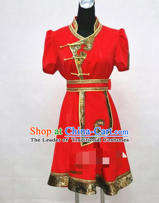 Traditional Chinese Mongol Nationality Dance Costume Handmade Red Mongolian Robe, China Mongolian Minority Nationality Dress Clothing for Women