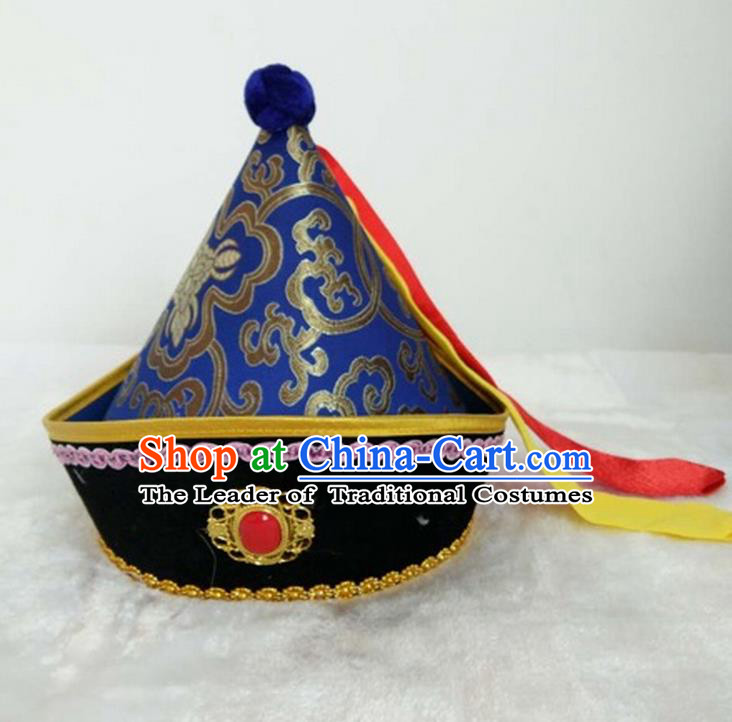 Traditional Handmade Chinese Mongol Nationality Dance Headwear Prince Royalblue Hat, China Mongolian Minority Nationality Children Royal Highness Headpiece for Kids