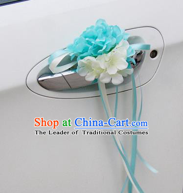Top Grade Wedding Accessories Blue ang White Pincushion Decoration, China Style Wedding Car Ornament Flowers Bride Long Ribbon Garlands