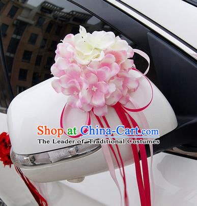 Top Grade Wedding Accessories White ang Pink Pincushion Decoration, China Style Wedding Car Ornament Flowers Bride Long Ribbon Garlands