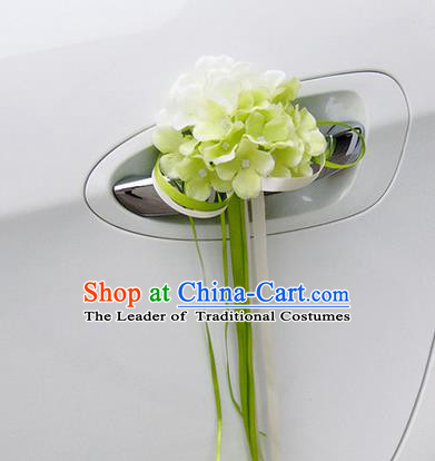 Top Grade Wedding Accessories White ang Green Pincushion Decoration, China Style Wedding Car Ornament Flowers Bride Long Ribbon Garlands
