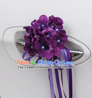 Top Grade Wedding Accessories Purple Pincushion Decoration, China Style Wedding Car Ornament Flowers Bride Long Ribbon Garlands
