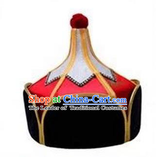 Traditional Handmade Chinese Mongol Nationality Dance Headwear Royal Highness Red Hat, China Mongolian Minority Nationality Children Bridegroom Headpiece for Kids