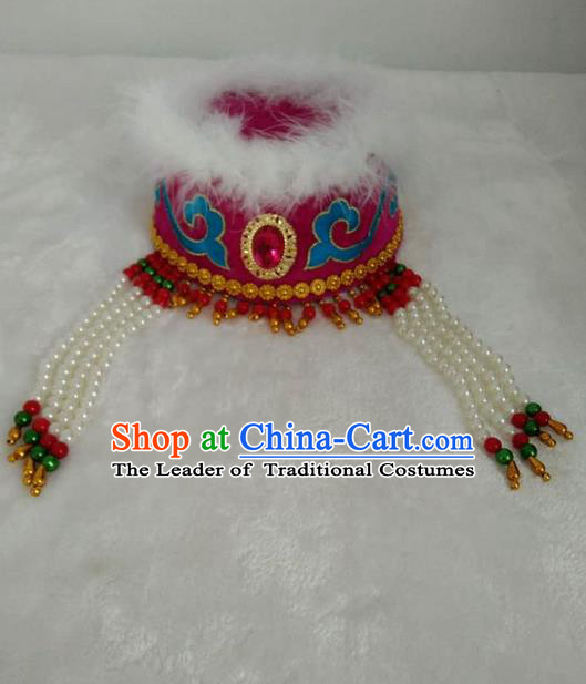 Traditional Handmade Chinese Mongol Nationality Dance Headwear Royal Princess Rosy Hat, China Mongolian Minority Nationality Children Bride Headpiece for Kids
