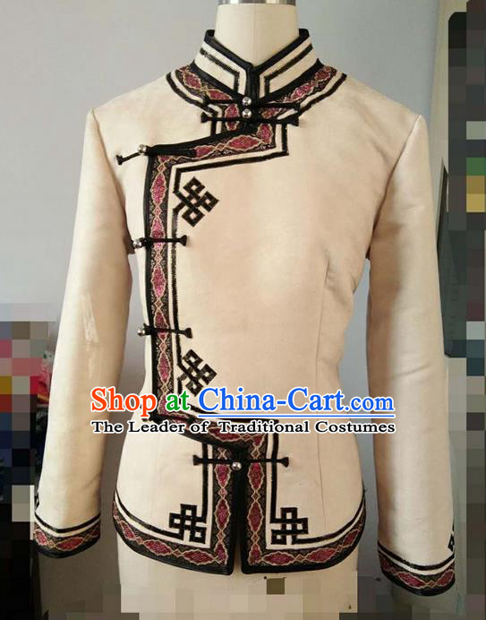 Traditional Chinese Mongol Nationality Dance Costume Handmade Mongolian Suede Fabric Blouse, China Mongolian Minority Nationality Coat Clothing for Women