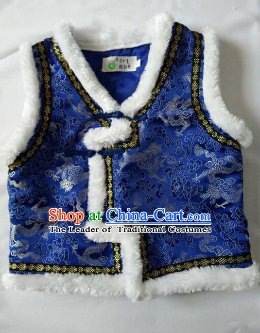 Traditional Chinese Mongol Nationality Dance Costume Handmade Royalblue Mongolian Vest, China Mongolian Minority Nationality Waistcoat Clothing for Kids