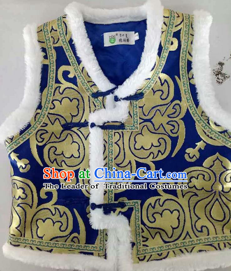 Traditional Chinese Mongol Nationality Dance Costume Handmade Deep Blue Mongolian Vest, China Mongolian Minority Nationality Waistcoat Clothing for Kids