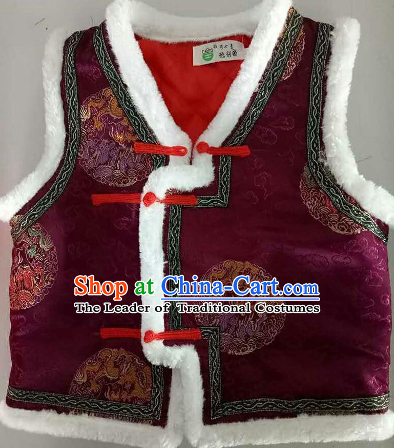 Traditional Chinese Mongol Nationality Dance Costume Handmade Purple Mongolian Vest, China Mongolian Minority Nationality Waistcoat Clothing for Kids