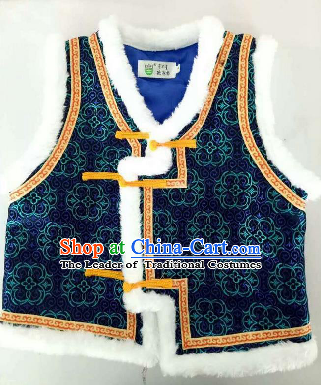 Traditional Chinese Mongol Nationality Dance Costume Handmade Navy Mongolian Vest, China Mongolian Minority Nationality Waistcoat Clothing for Kids
