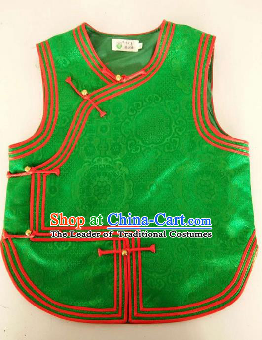 Traditional Chinese Mongol Nationality Dance Costume Handmade Mongolian Green Vest, China Mongolian Minority Nationality Waistcoat Clothing for Kids