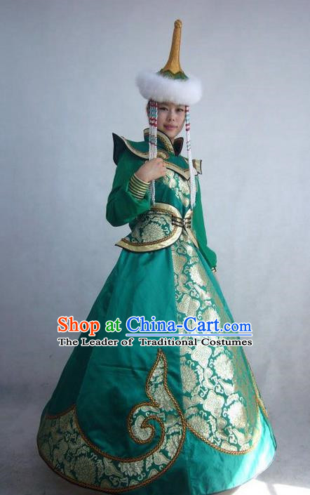 Traditional Chinese Mongol Nationality Dance Costume Handmade Queen Mongolian Robe, China Mongolian Minority Nationality Bride Wedding Dress Clothing for Women