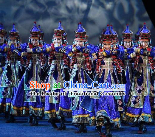 Traditional Chinese Mongol Nationality Dance Costume Handmade Queen Mongolian Robe, China Mongolian Minority Nationality Bride Wedding Blue Dress Clothing for Women