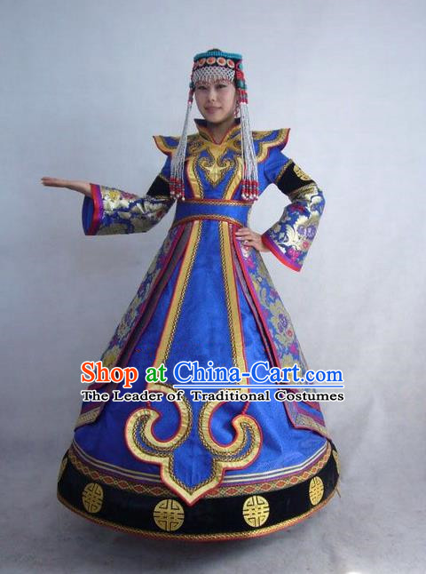 Traditional Chinese Mongol Nationality Dance Costume Handmade Princess Mongolian Robe, China Mongolian Minority Nationality Blue Dress Clothing for Women