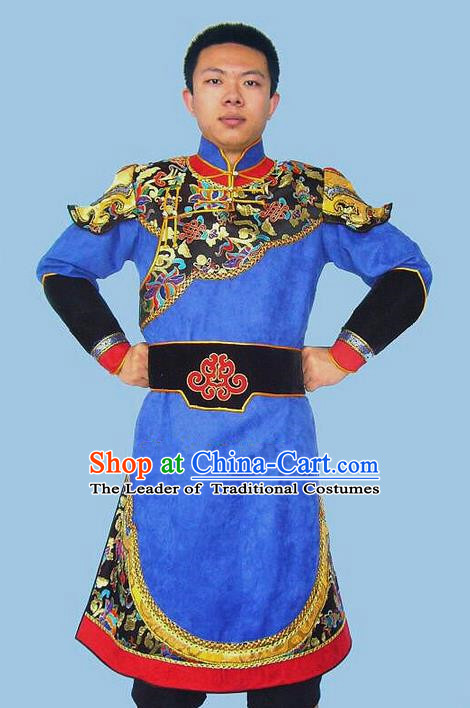 Traditional Chinese Mongol Nationality Dance Costume Handmade Blue Mongolian Robe, China Mongolian Minority Nationality Bridegroom Clothing for Men