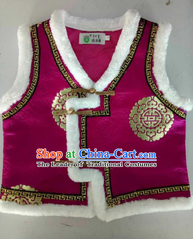 Traditional Chinese Mongol Nationality Dance Costume Handmade Amaranth Mongolian Vest, China Mongolian Minority Nationality Waistcoat Clothing for Kids