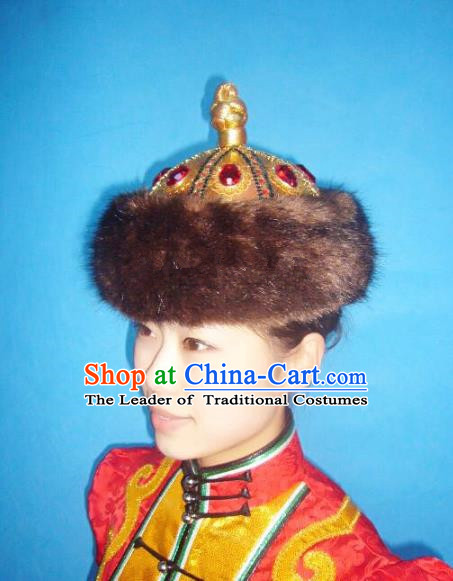 Traditional Handmade Chinese Mongol Nationality Dance Headwear Royal Prince Hat, China Mongolian Minority Nationality Headpiece for Men