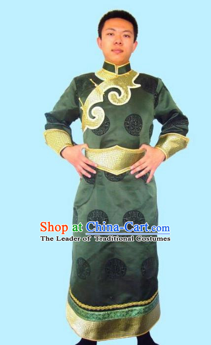 Traditional Chinese Mongol Nationality Dance Costume Handmade Green Mongolian Robe, China Mongolian Minority Nationality Bridegroom Clothing for Men