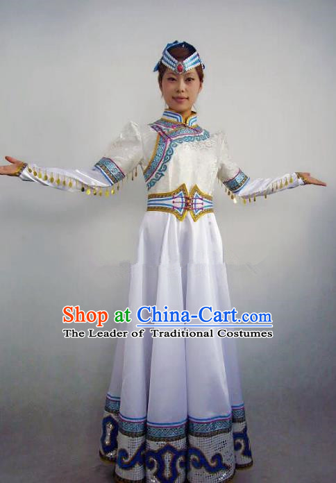 Traditional Chinese Mongol Nationality Dance Costume Handmade White Mongolian Robe, China Mongolian Minority Nationality Bride Dress Clothing for Women
