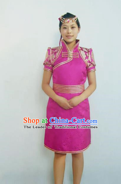 Traditional Chinese Mongol Nationality Dance Costume Handmade Rosy Mongolian Robe, China Mongolian Minority Nationality Bride Dress Clothing for Women